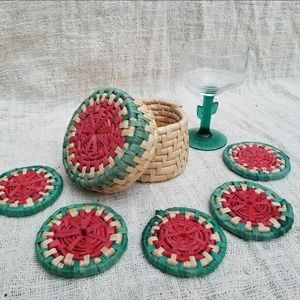 Vintage 70s set of 5 Woven Coiled Rattan Coasters